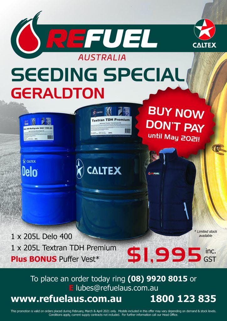 Refuel Australia Seeding Special Flyers A4 2021 - Caltex Lubricant